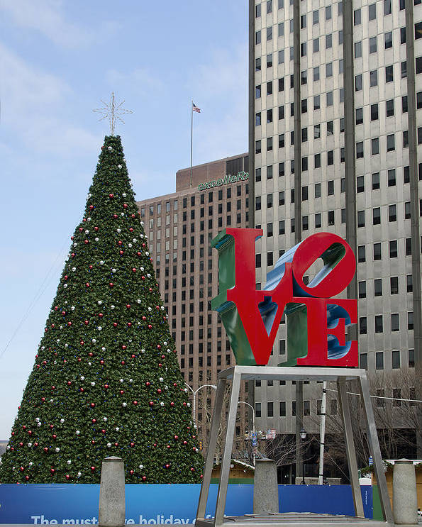 love Park Poster featuring the photograph Love Park Philadelphia - Winter by Brendan Reals