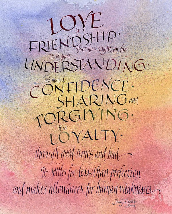 Script Poster featuring the painting Lovefriendship by Judy Dodds