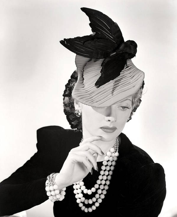 Ball Poster featuring the photograph Lucille Ball Models A Unique Hat by Everett