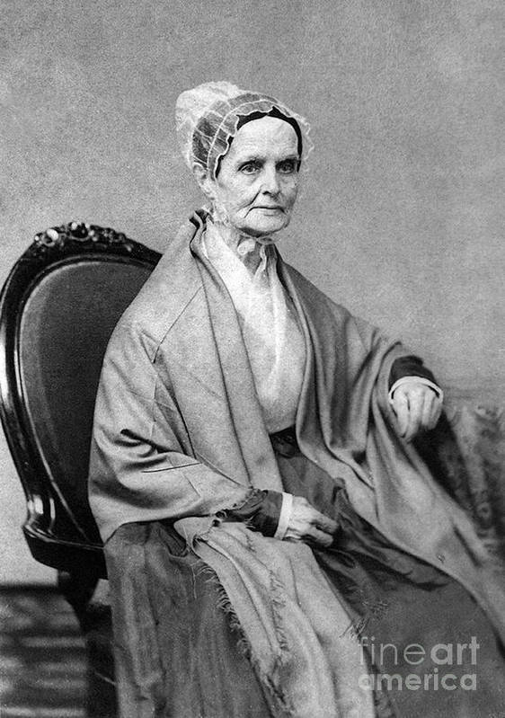 History Poster featuring the photograph Lucretia Coffin Mott, American Activist by Photo Researchers