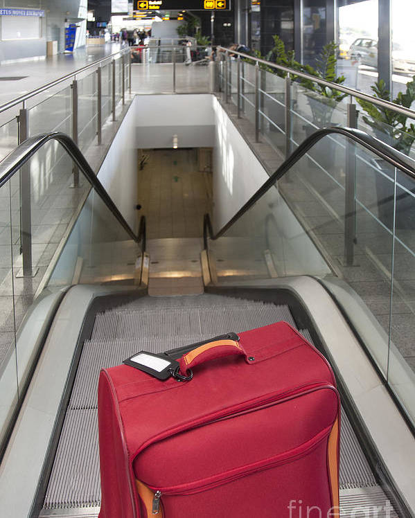 Abandoned Poster featuring the photograph Luggage At The Top Of An Escalator by Jaak Nilson