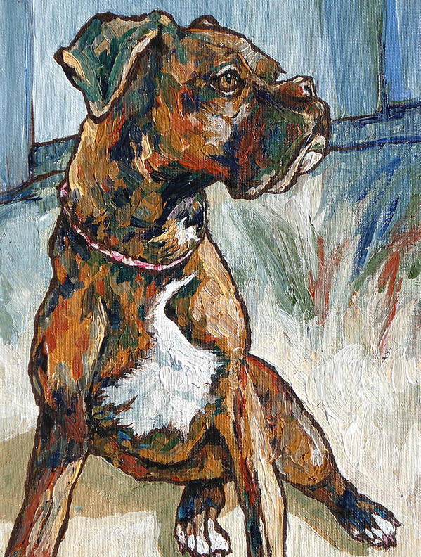 Dog Poster featuring the painting Lulu by Sandy Tracey