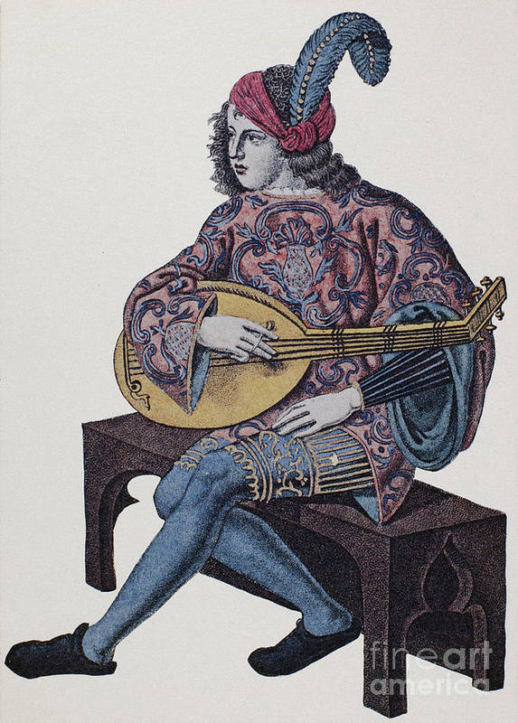 1839 Poster featuring the photograph Lute Player, 1839 by Granger