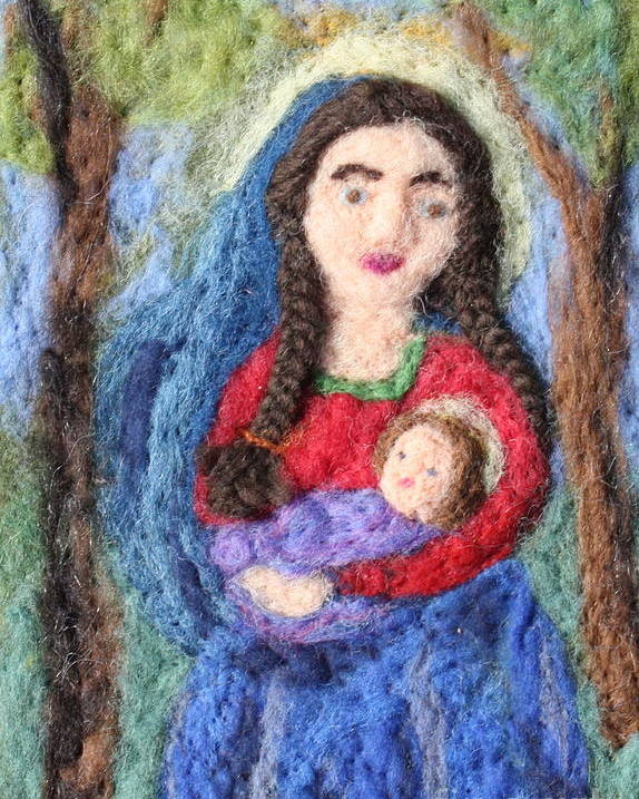 Madonna Poster featuring the tapestry - textile Madonna And Child by Nicole Besack