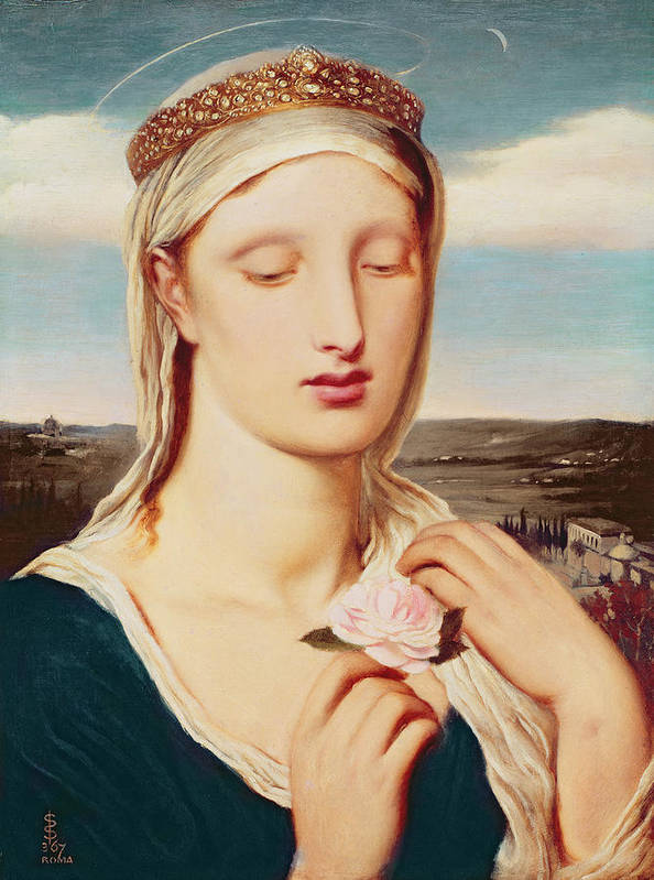 Madonna (oil On Panel) By Simeon Solomon (1840-1905) Poster featuring the painting Madonna by Simeon Solomon