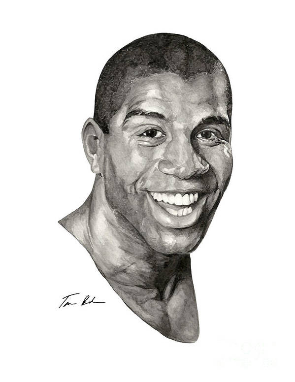 Magic Johnson Poster featuring the painting Magic by Tamir Barkan
