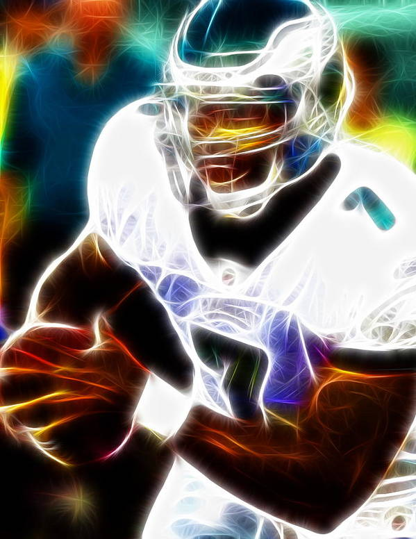 Mike Vick Poster featuring the painting Magical Michael Vick by Paul Van Scott