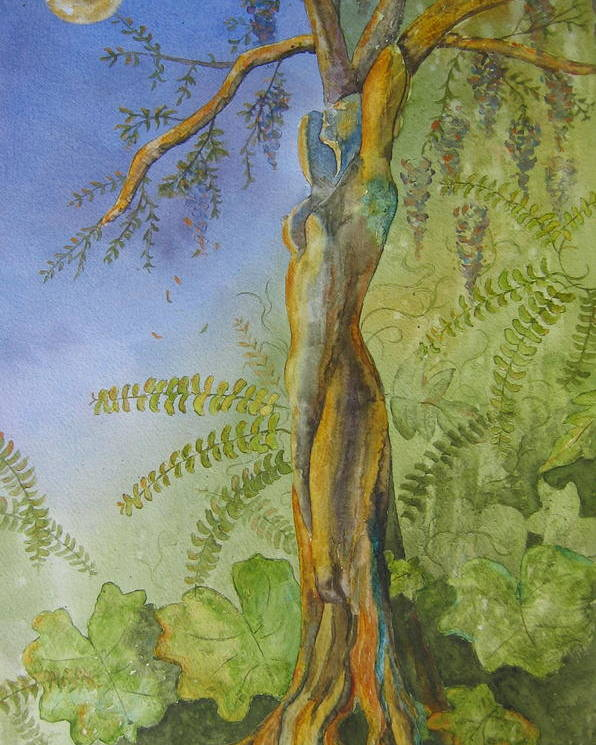 Fantasy Landscape With Figure Poster featuring the painting Maiden - Earth Mother Iv  by Patsy Sharpe