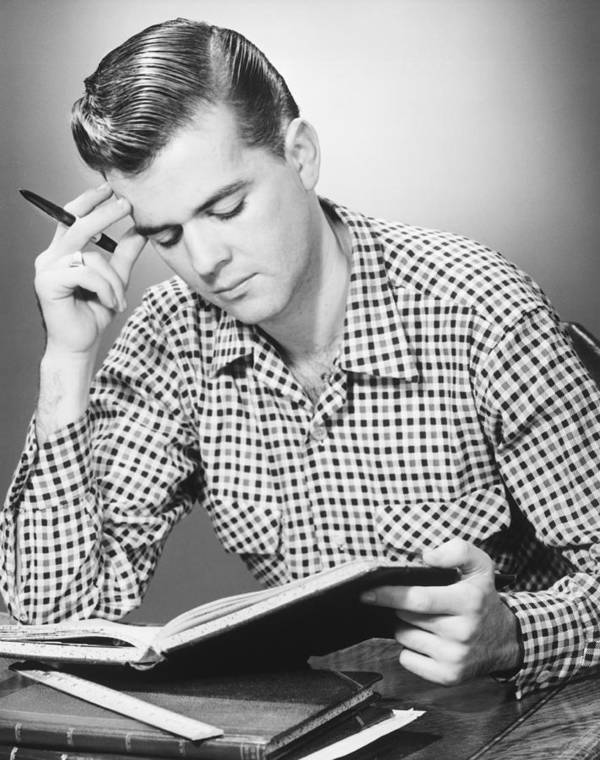 20-24 Years Poster featuring the photograph Male Student Reading, (b&w), by George Marks