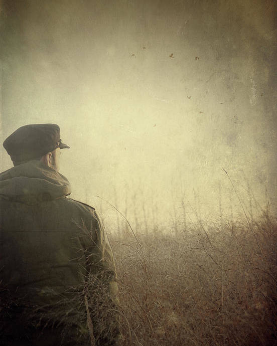 Caucasian Poster featuring the photograph Man Alone In Autumn Field by Sandra Cunningham