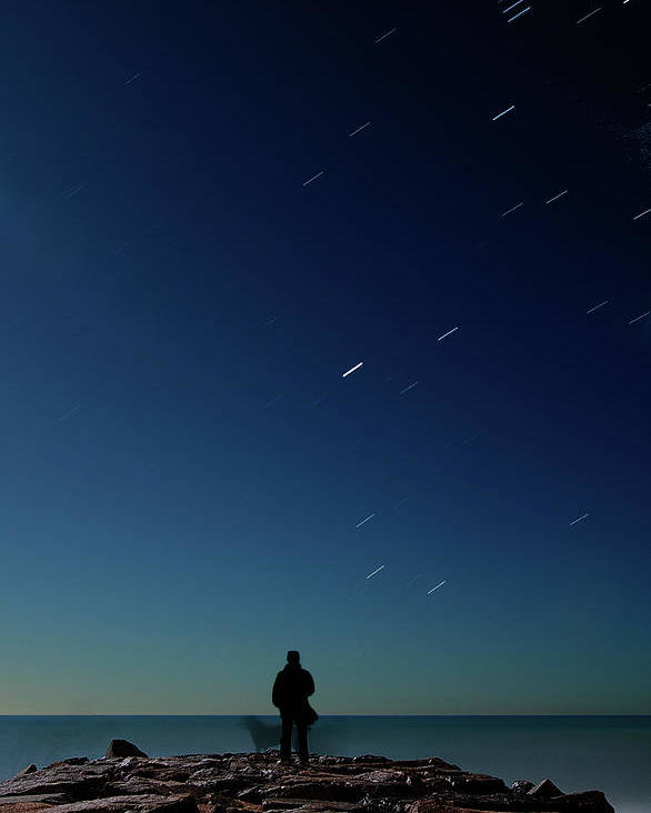 Adult Poster featuring the photograph Man And Dog Watching Stars At Night by Jonatan Hernandez Photography