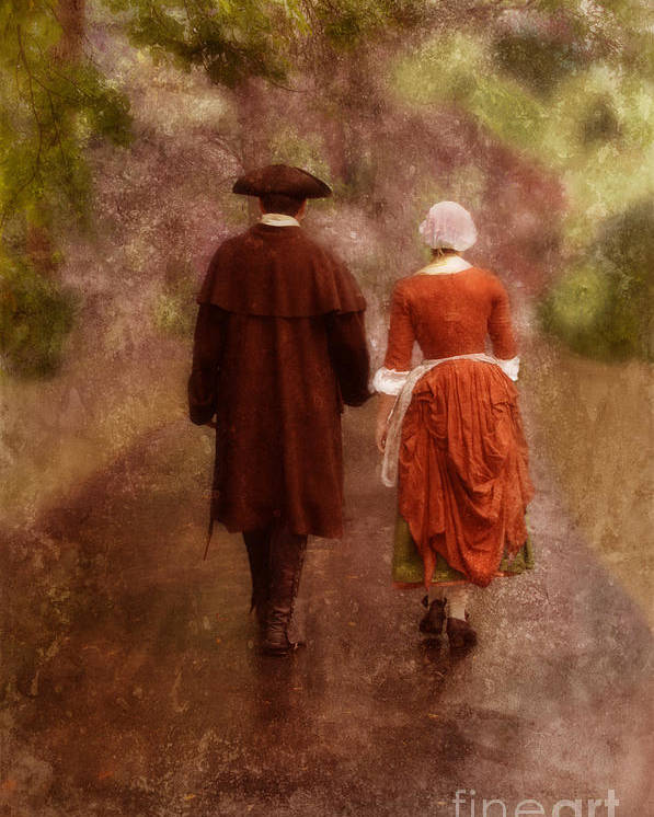 Couple Poster featuring the photograph Man And Woman In 18th Century Clothing Walking by Jill Battaglia