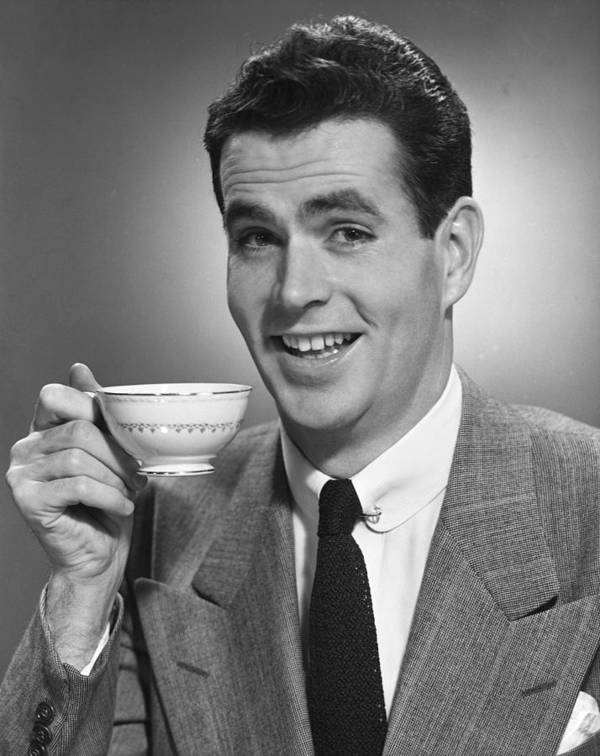 Adult Poster featuring the photograph Man Drinking Coffee by George Marks