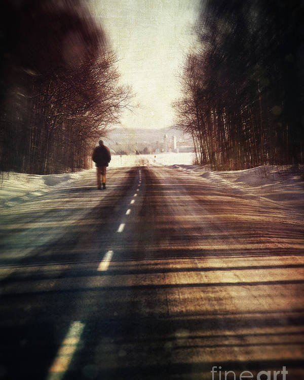 Atmosphere Poster featuring the photograph Man Walking On A Rural Winter Road by Sandra Cunningham