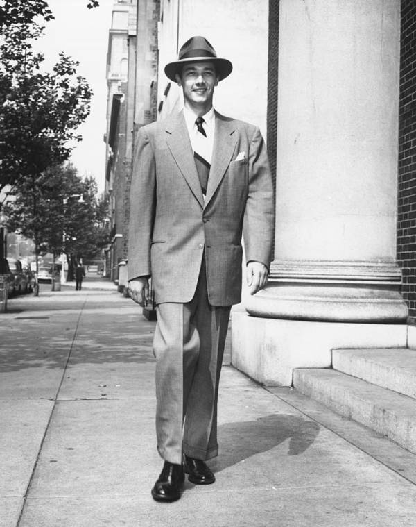 35-39 Years Poster featuring the photograph Man Walking On Sidewalk, (b&w) by George Marks