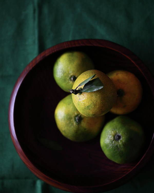 Vertical Poster featuring the photograph Mandarin Orange In Wooden Bowl by © Miss Snail All right reserved