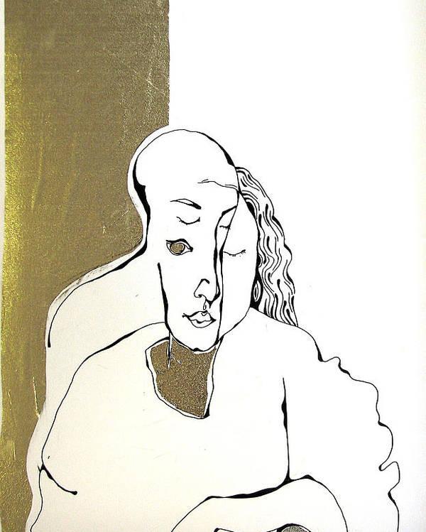 Gold Poster featuring the drawing Mani by Nina Mirhabibi