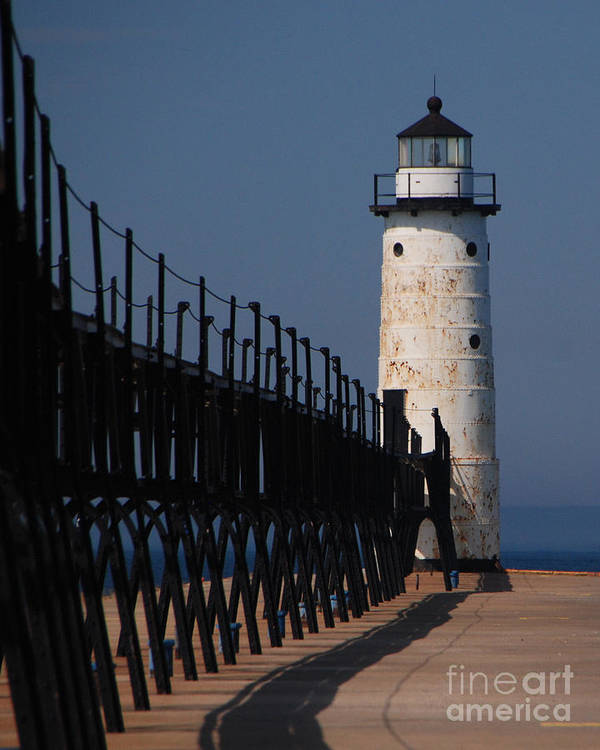 Lighthouse Poster featuring the photograph Manistee Harbor Lighthouse And Cat Walk by Grace Grogan