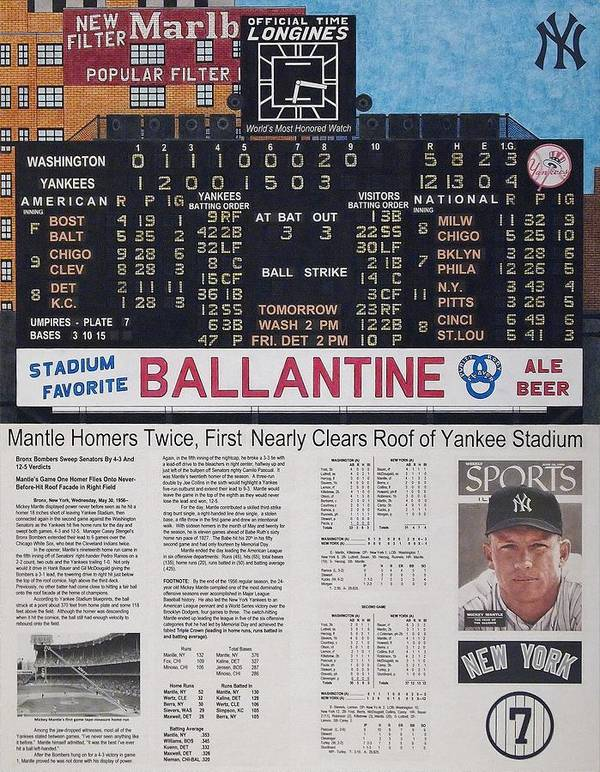 Baseball Poster featuring the drawing Mantle Triple Crown 1956 by Marc Yench