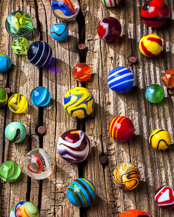Marbles Poster featuring the photograph Marbles On Wooden Board by Garry Gay