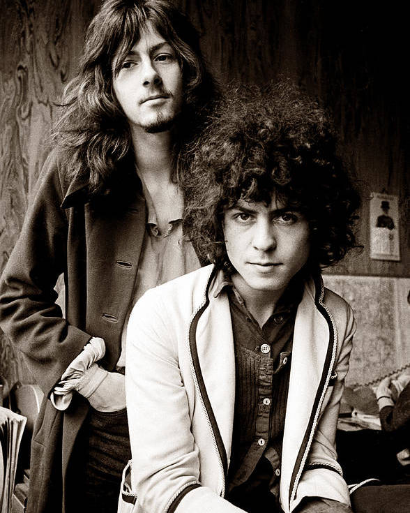 T Rex Poster featuring the photograph Marc Bolan T Rex 1969 Sepia by Chris Walter