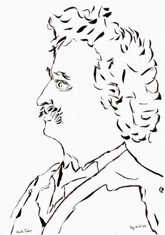 Mark Twain Poster featuring the drawing Mark Twain by Day Williams