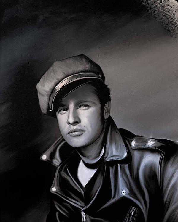 Cinema Poster featuring the digital art Marlon Brando by Andrzej Szczerski