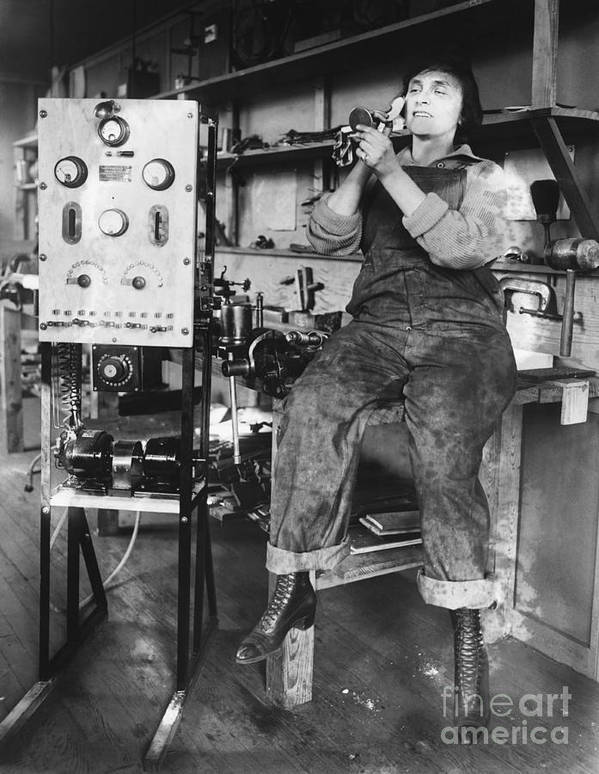 Historical Poster featuring the photograph Mary Loomis, Radio School Operator by Science Source