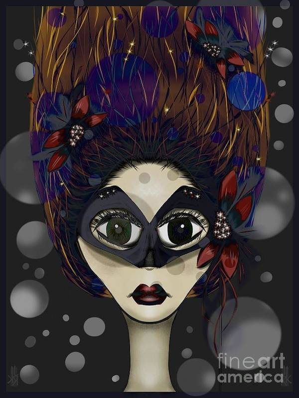 Masquerade Poster featuring the digital art Masquerade by J Kinion