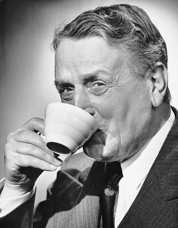 Human Age Poster featuring the photograph Mature Man Drinking Cup Of Coffee by George Marks