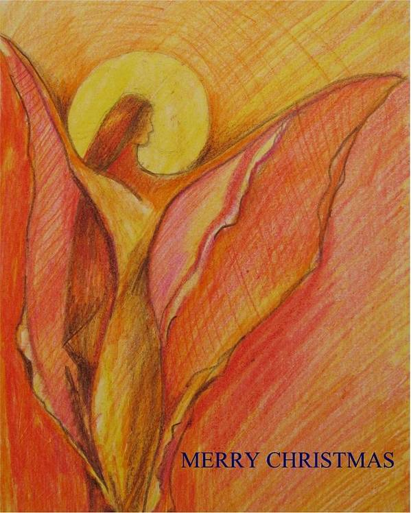 Drawing Poster featuring the painting Merry Christmas by Brigitte Hintner