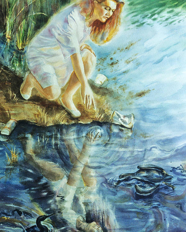 Landscape Poster featuring the painting Message In The Water by Catherine Foster