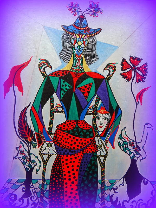 Cubism Poster featuring the painting Metamorphosis Of Eleonore Into A Snake. by Marie Schwarzer