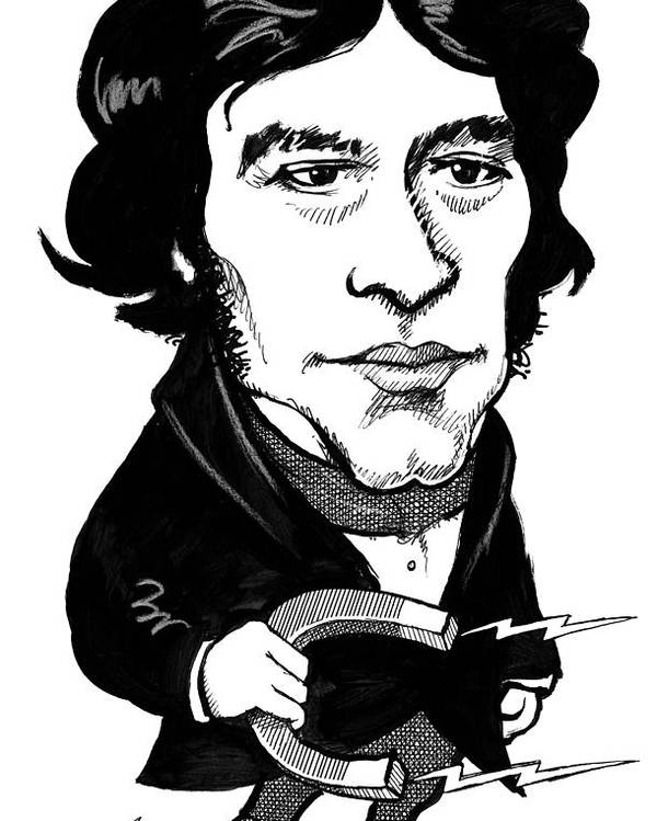 Michael Faraday Poster featuring the photograph Michael Faraday, Caricature by Gary Brown