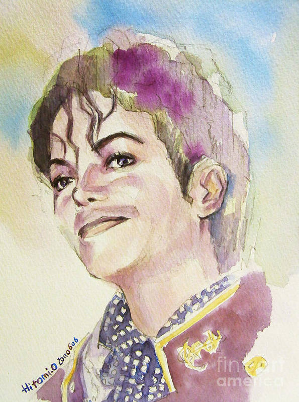 Michael Jackson Poster featuring the painting Michael Jackson - Mike by Hitomi Osanai