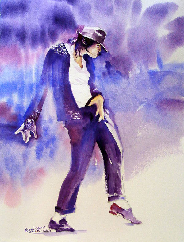 Michael Jackson Poster featuring the painting Michael Jackson - Not My Lover by Hitomi Osanai