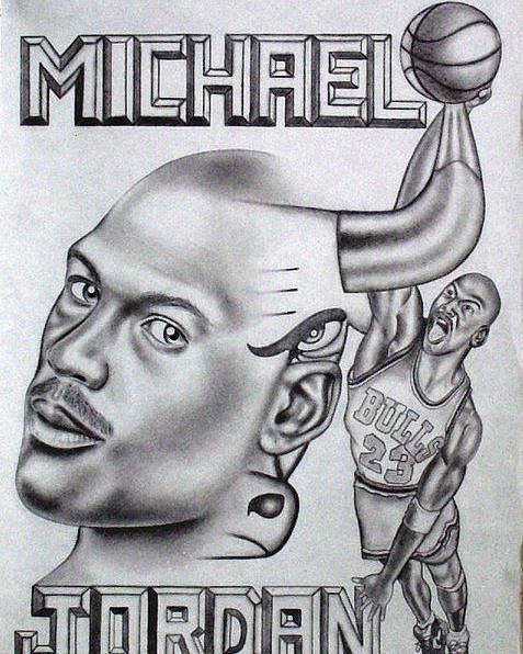 Portraits Poster featuring the drawing Michael Jordan Double Exposure by Rick Hill
