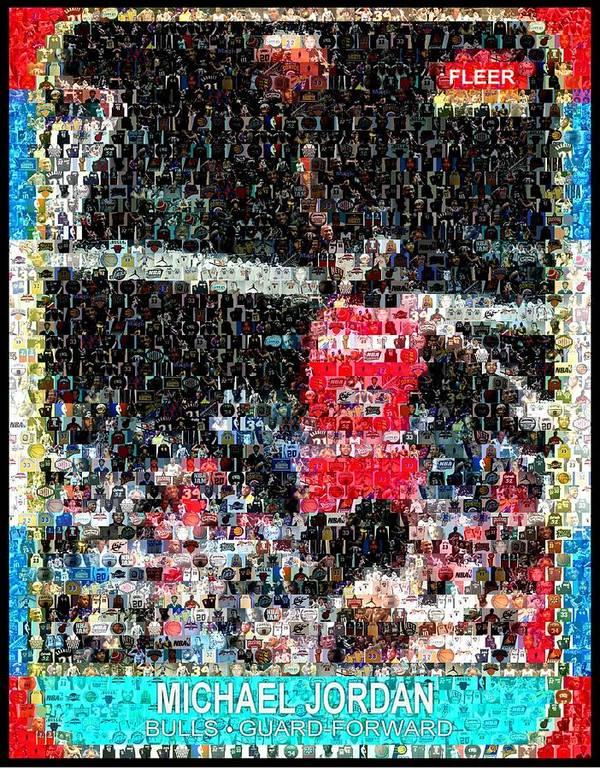 Michael Jordan Poster featuring the digital art Michael Jordan Rookie Mosaic by Paul Van Scott