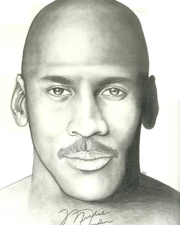 Michael Jordan Poster featuring the drawing Michael Jordan by Scott Williams