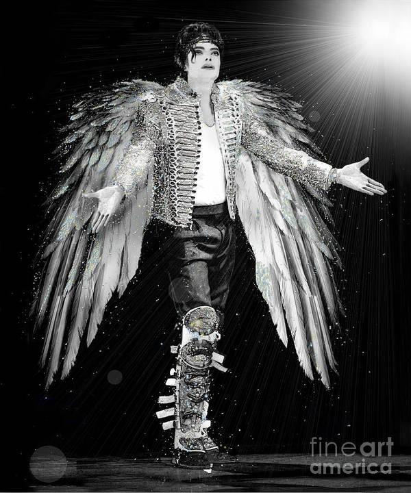 Michael Jackson Poster featuring the digital art Michael King Of Angels by Karine Percheron-Daniels