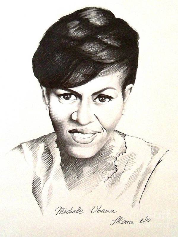 Portrait Poster featuring the painting Michelle Obama by A Karron