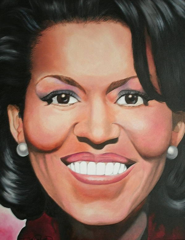 Michelle Obama Poster featuring the painting Michelle Obama by Timothe Winstead
