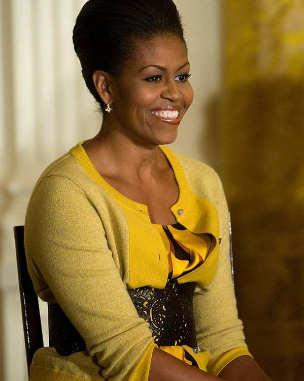 Michelle Obama Poster featuring the photograph Michelle Obama Wearing A J. Crew by Everett