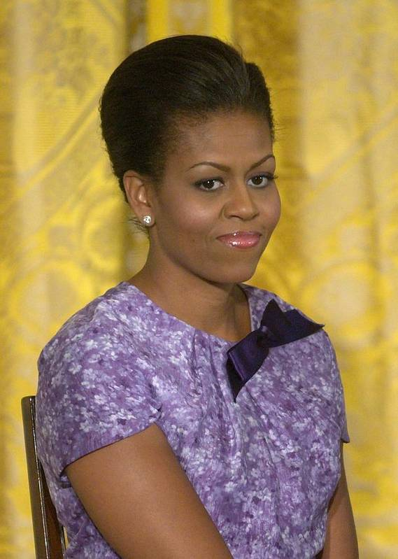 Michelle Obama Poster featuring the photograph Michelle Obama Wearing An Anne Klein by Everett