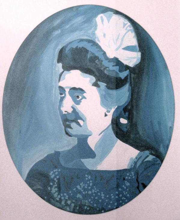 Late 1800s Poster featuring the painting Millie In Blue by Rebecca Wood