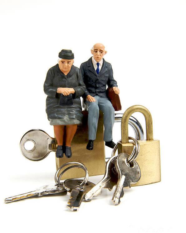 Ups Poster featuring the photograph Miniature Figurines Of Elderly Couple Sitting On Padlocks by Bernard Jaubert
