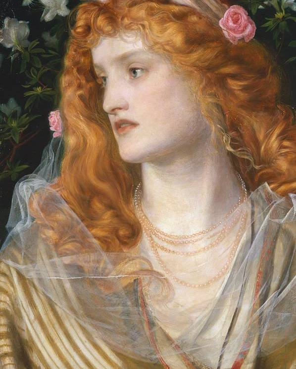 Pre-raphaelite; Victorian; Female; Veil; Auburn; Redhead; Red-haired; Heroine; The Tempest; Shakespeare; Literature Poster featuring the painting Miranda by AFA Sandys