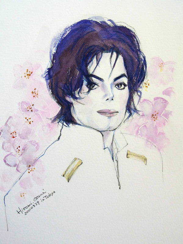 Michael Jackson Poster featuring the painting Mj In Sakura by Hitomi Osanai