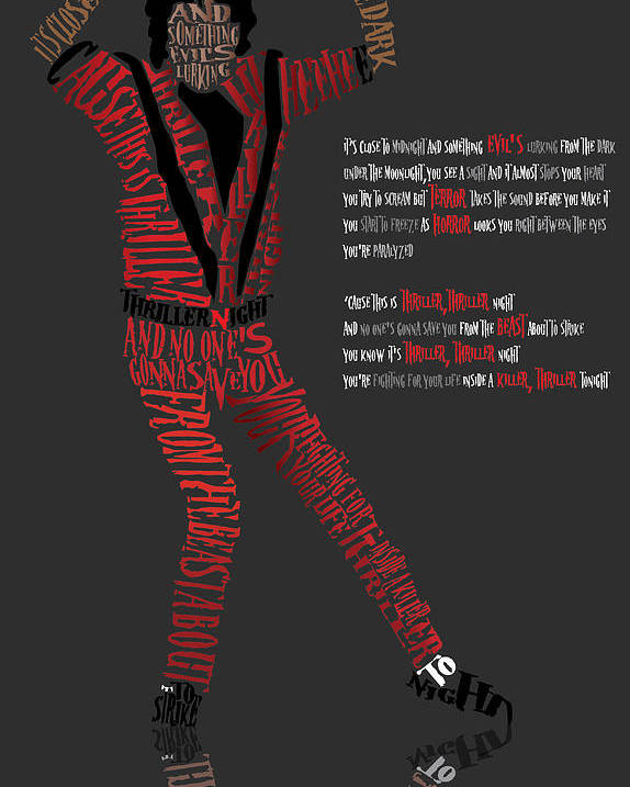 Celebrity Art Poster featuring the digital art Mj_typography by Mike Haslam