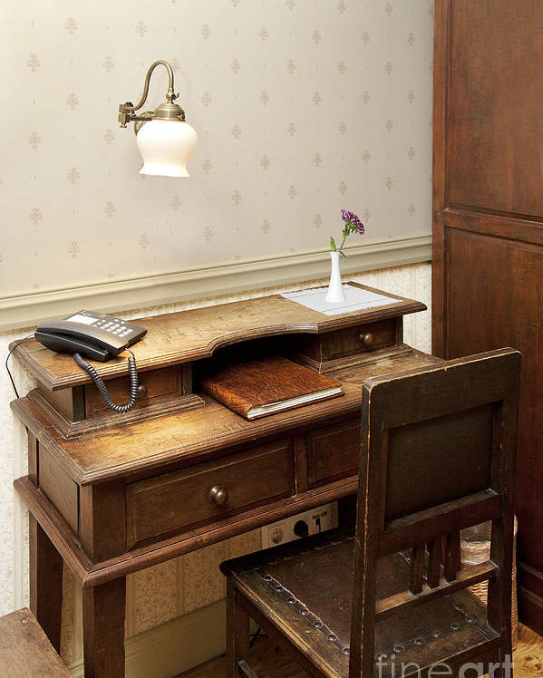 Book Poster featuring the photograph Modern Phone On An Old Fashioned Desk by Jaak Nilson